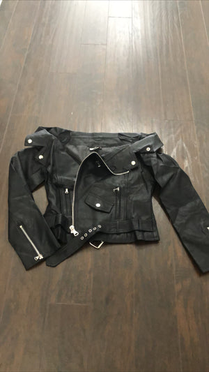Norman Black Off The Shoulder Moto Jacket