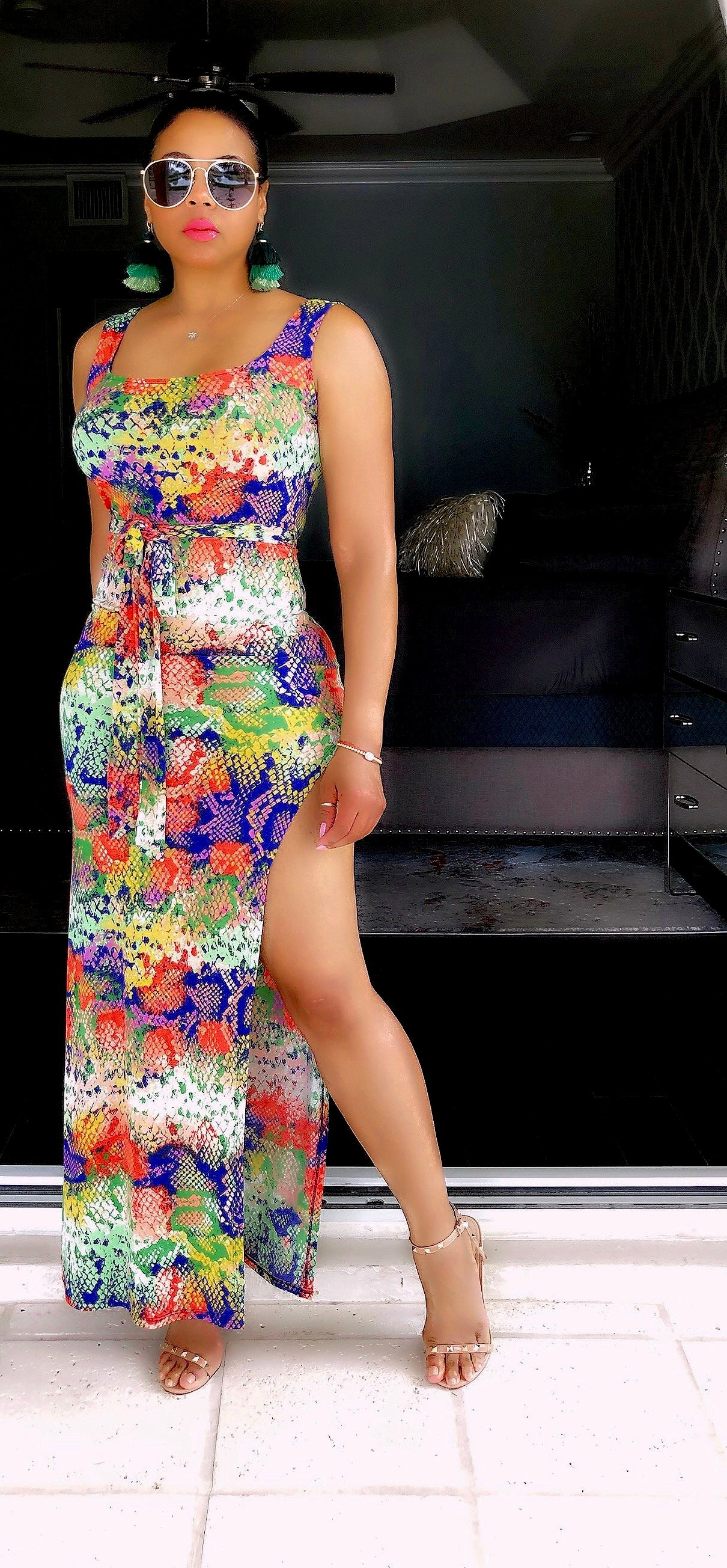 Multi Color Midi Dress With Split