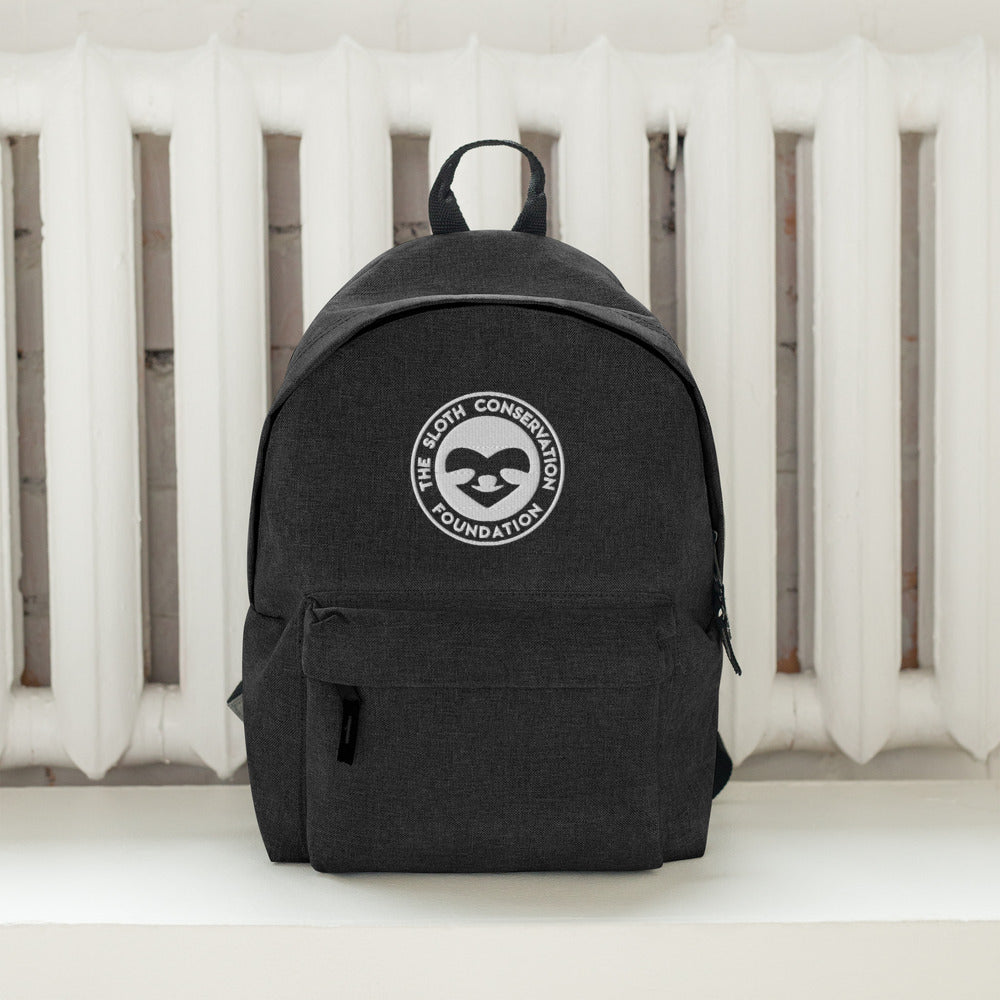 Embroidered SloCo Logo White Backpack