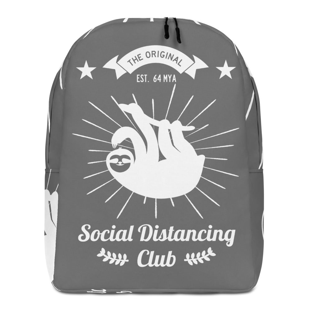 Minimalist Backpack Social Distancing Club (White print)