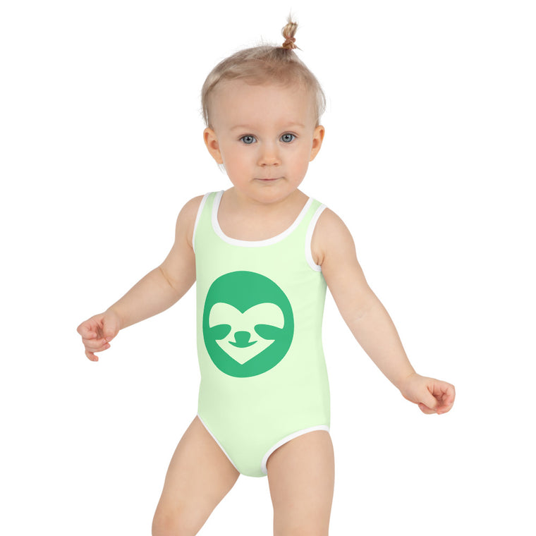 Kids Swimsuit SloCo Face Green