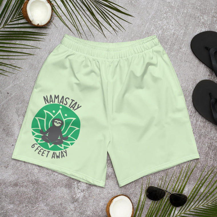 Men's Athletic Long Shorts Namastay Green