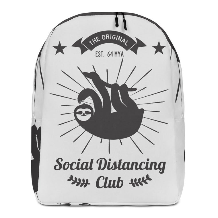 Minimalist Backpack Social Distancing Club (Black print)
