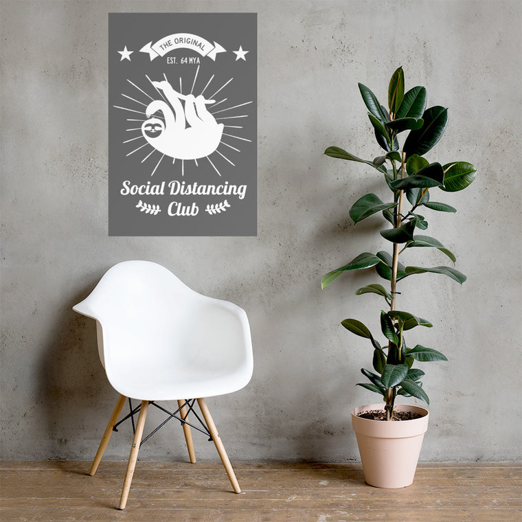 Poster Social Distancing Club White print