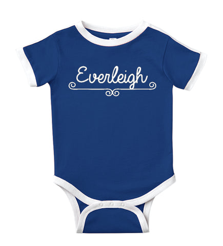 Personalized Baby Bodysuit Customized with Name for Boys, Girls, and Gender Neutral - Fanciful Design