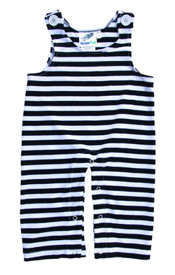 Gender Neutral Baby and Toddler Overalls - Black and White Stripes