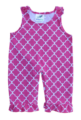 Girls Baby and Toddler Overalls - Hot Pink Pattern