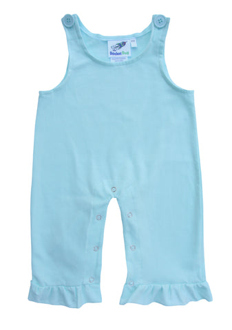 Girls Baby and Toddler Overalls - Light Mint with Ruffles
