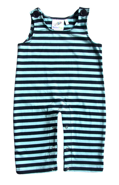 Gender Neutral Baby and Toddler Overalls - Navy and Light Blue Stripes