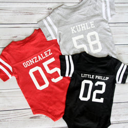 Custom Football Jersey Baby Bodysuit Personalized with Name and Number