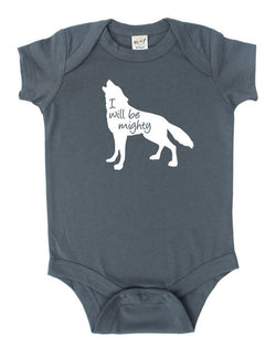 """I Will Be Mighty"" Wolf Animal Silhouette Baby Bodysuit"
