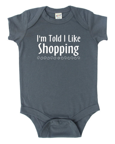 I'm Told I Like Shopping Silhouette Baby Bodysuit