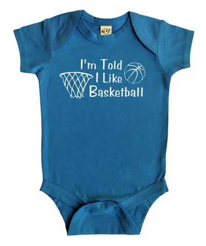 I'm Told I Like Basketball Silhouette Baby Bodysuit