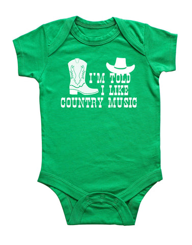I'm Told I Like Country Music Silhouette Baby Bodysuit