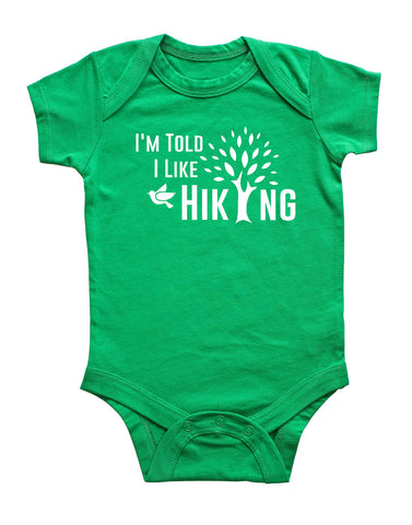 I'm Told I Like Hiking Silhouette Baby Bodysuit