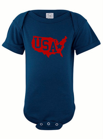 USA Map Baby Bodysuit