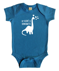 """My Aunt is Dino-Mite"" Baby Bodysuit"