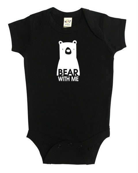 """Bear with Me"" Silhouette Baby Bodysuit"