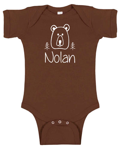 "Custom ""Bear"" Baby Bodysuit Personalized with Name"