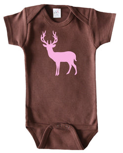 Deer Silhouette Baby Bodysuit for Girls
