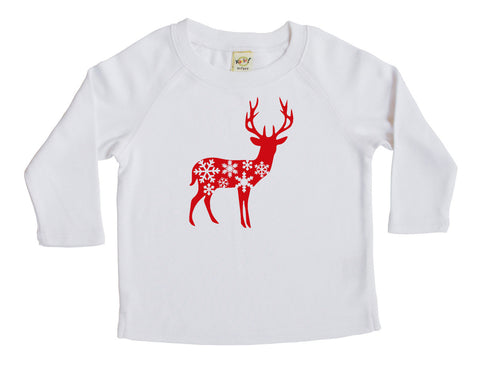 Holiday Deer with Snowflakes Baby and Toddler Shirt