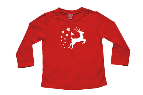 Holiday Christmas Flying Reindeer- Baby, Toddler, and Big Kids Long Sleeve T-Shirt