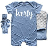 Rocket Bug 'Lush' PERSONALIZED GIFT SET- Silky Shorts Baby Romper, Matching Blanket, and Hat or Headband for Boys and Girls-Gender Neutral