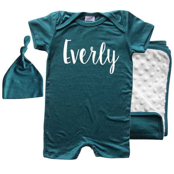 Rocket Bug Lush Silky Knotted Baby Gown with Matching Personalized Hat-Girl Boy Gender Neutral