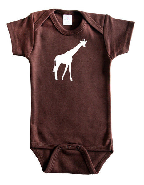 Safari Animals Silhouette Baby Bodysuit-Giraffe
