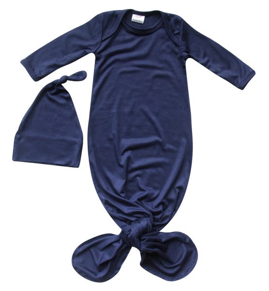 Rocket Bug Silky Knotted Baby Gown with Knotted Hat, Unisex, Boys, & Girls, Infant Sleeper