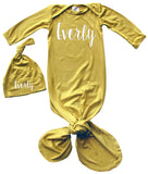 'Lush' Personalized Rocket Bug Silky Knotted Baby Gown with Matching Personalized Hat -Unisex, Boys, & Girls, Infant Sleeper-Personalized with Name