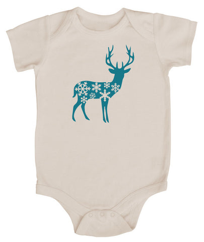 Holiday Deer Short Sleeve Bodysuit - Christmas