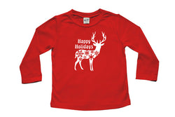 Happy Holiday Deer Long Sleeve T-shirt - Christmas