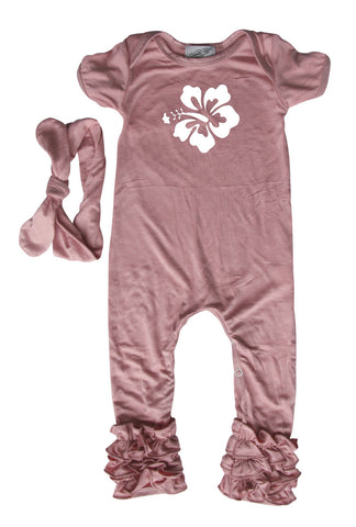 Hibiscus Baby Romper with Matching Headband
