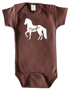 Farm Animal Silhouette Baby Bodysuit-Horse