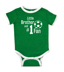 'Little Brother and #1 Fan' Soccer Jersey Baby Bodysuit