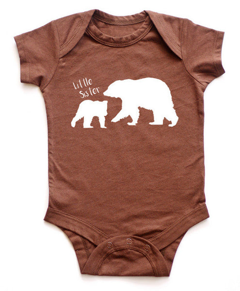 Little Sister with Big Bear Baby Bodysuit