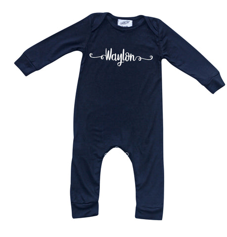 Personalized Custom Silky Long Sleeve Baby Romper for Boys and Girls-Gender Neutral (Sweetly Modern Font)