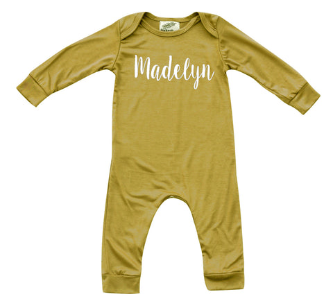 'Lush' Personalized Custom Silky Long Sleeve Baby Romper for Boys and Girls-Gender Neutral