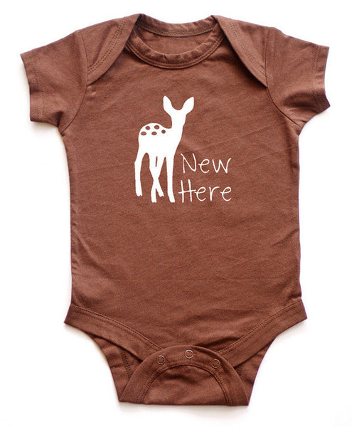 """New Here"" Fawn Baby Bodysuit"