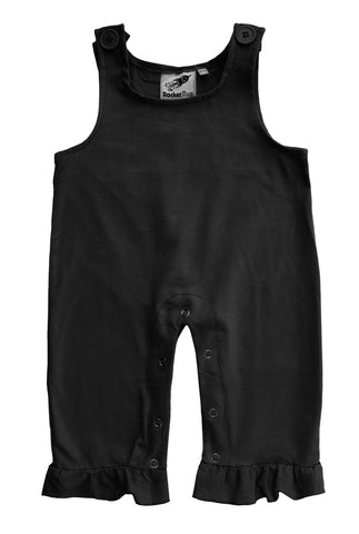Girls Baby and Toddler Overalls - Black with Ruffles