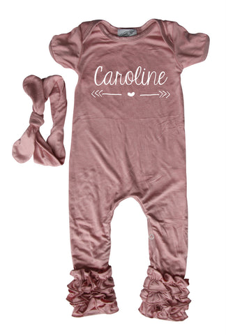 75b0e30d6fa ... Personalized Baby Ruffle Romper for Girls (Matching Headband Included)  ...