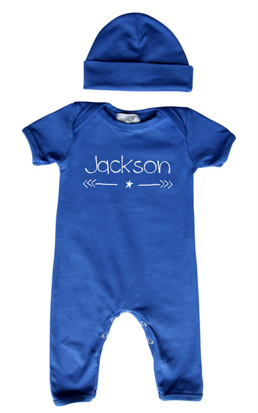 Personalized Baby Romper for Boys (Matching Hat Included)