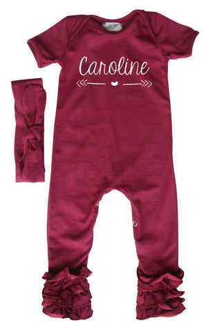 1051d8e2c6e Personalized Baby Ruffle Romper for Girls (Matching Headband Included)