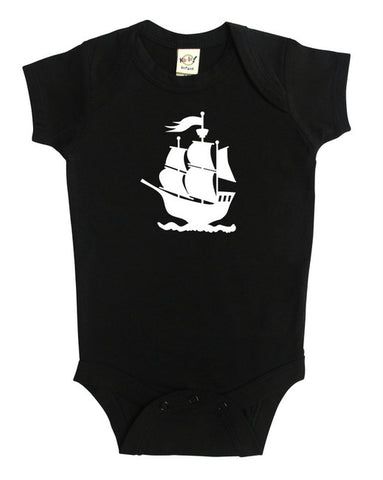 Pirate Ship Silhouette Baby Bodysuit