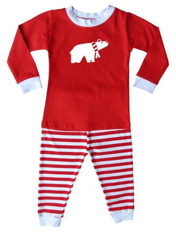 Holiday Christmas Red & White Striped Graphic Pajamas for Babies, Toddlers, & Big Kids