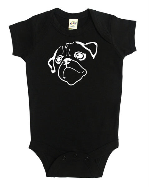 """Pug"" Silhouette Baby Bodysuit"