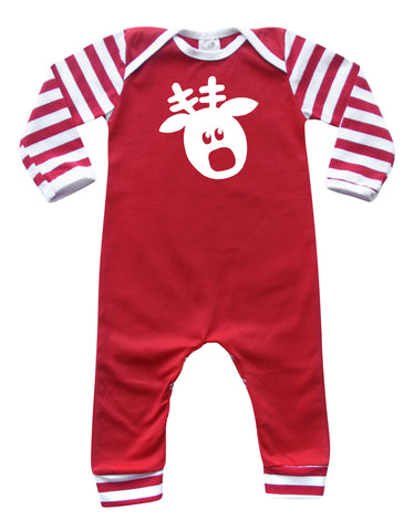 Holiday- Red and White Striped Christmas Long Sleeve Baby Jumpsuit Romper