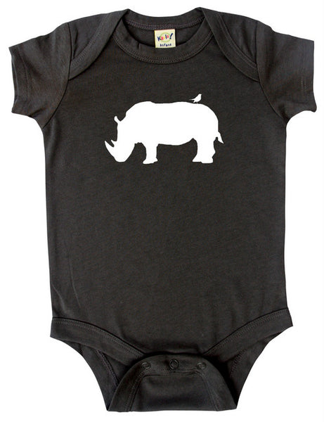 Safari Animals Silhouette Baby Bodysuit-Rhino