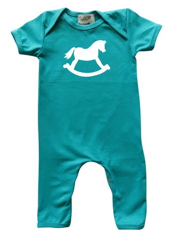 Rocking Horse Teal Baby Romper for Boys and Girls